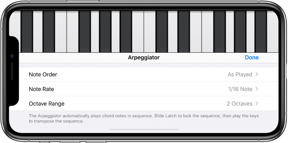 Keyboard Arpeggiator controls