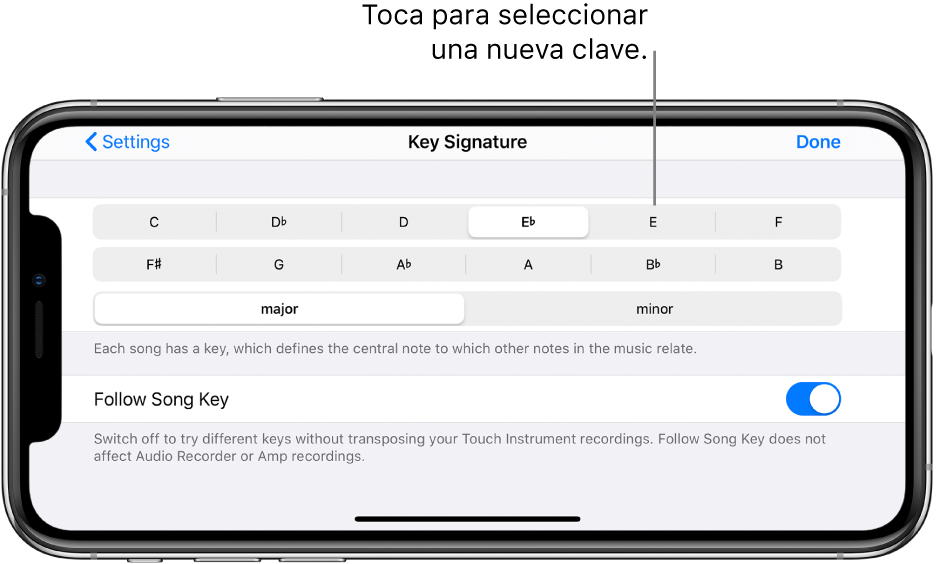 Controles de clave en la configuración de la canción