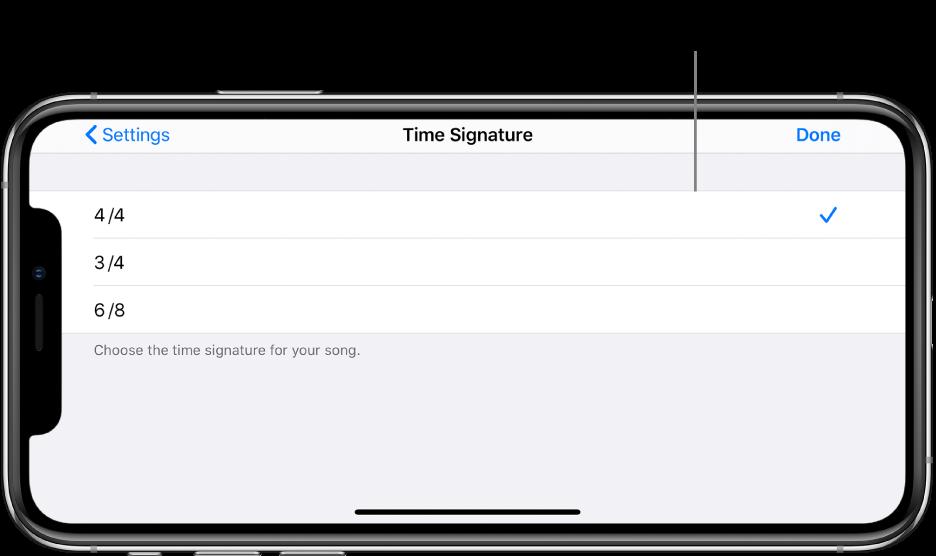 Réglages de signature temporelle dans les réglages du morceau