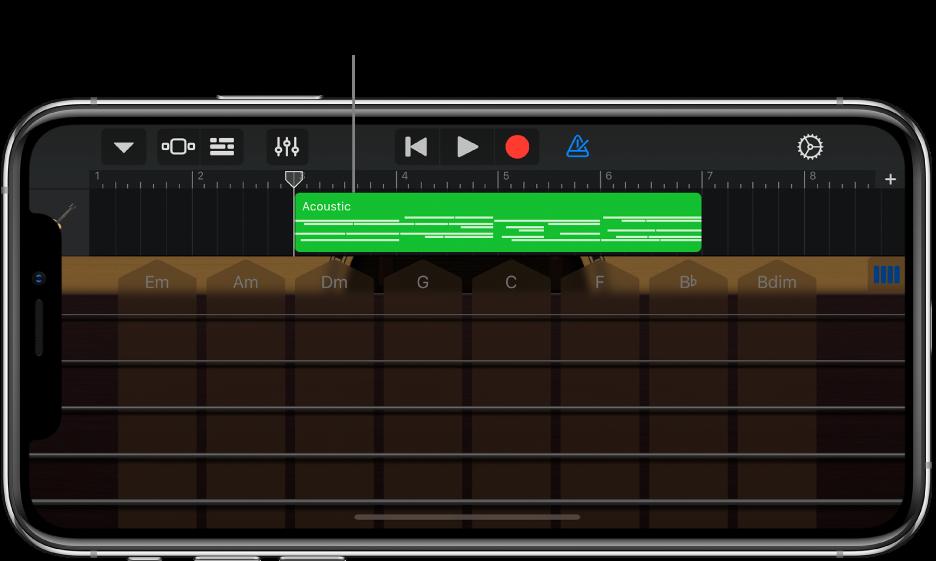 演奏領域が下に移動して、リージョンが表示されます