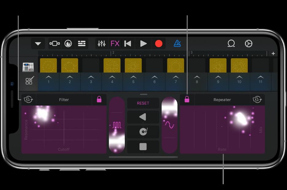 Afbeelding. Live Loops-raster met RemixFX.