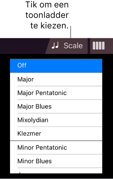 Knop 'Toonladder' en toonladderlijst voor de snaarinstrumenten
