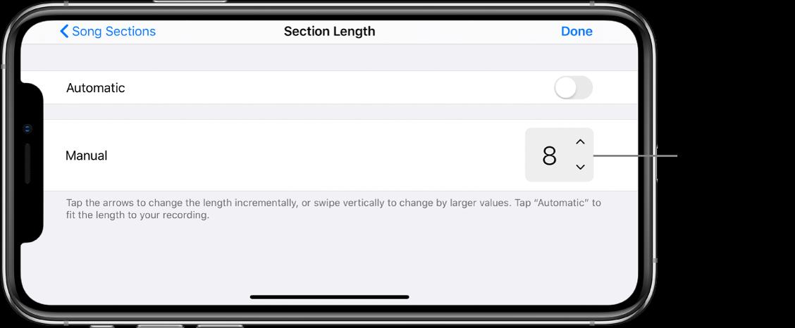 Regelaars voor het aanpassen van de lengte van een gedeelte van een nummer