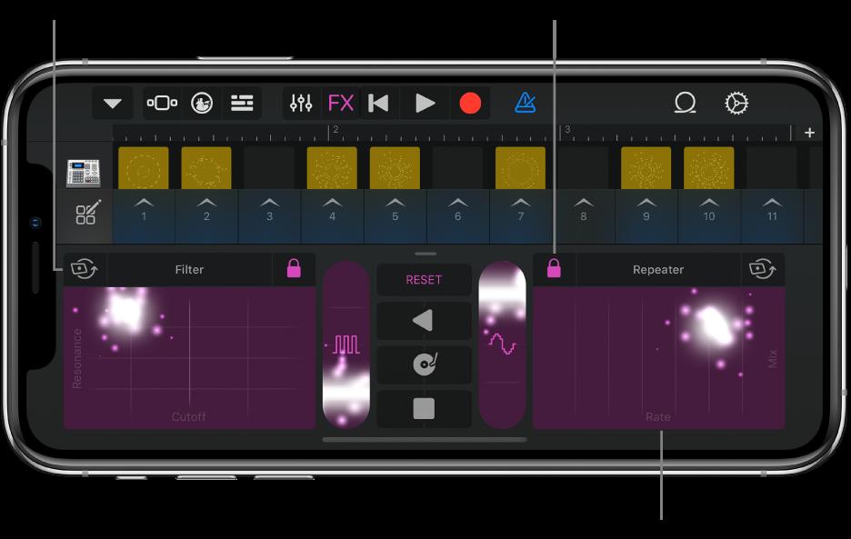 Figur. Live Loops-rutenettet som viser Remix FX.