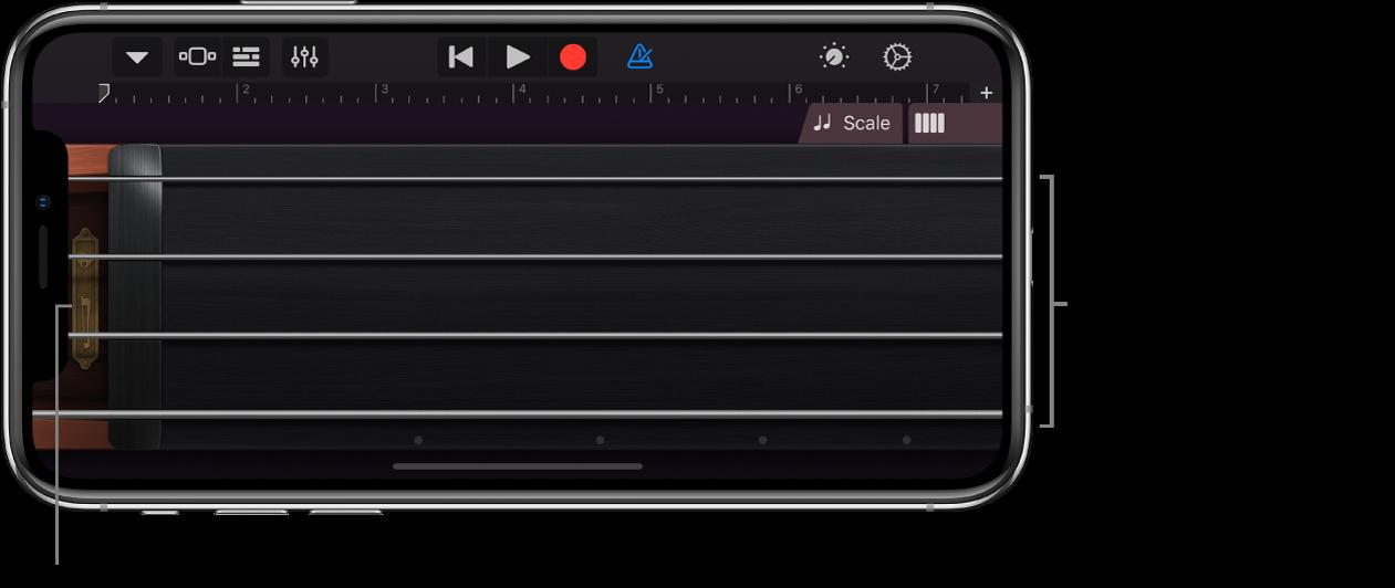 Tonevisning på Touch-instrumentet Strykere