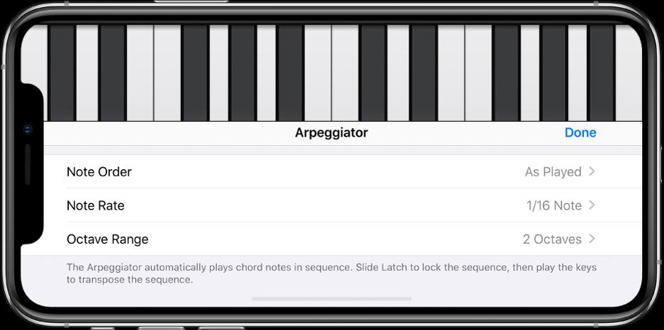 Controles do arpejador do teclado