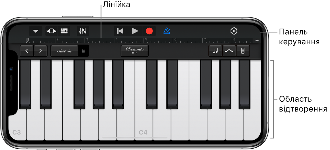 Екранний інструмент з областю для гри