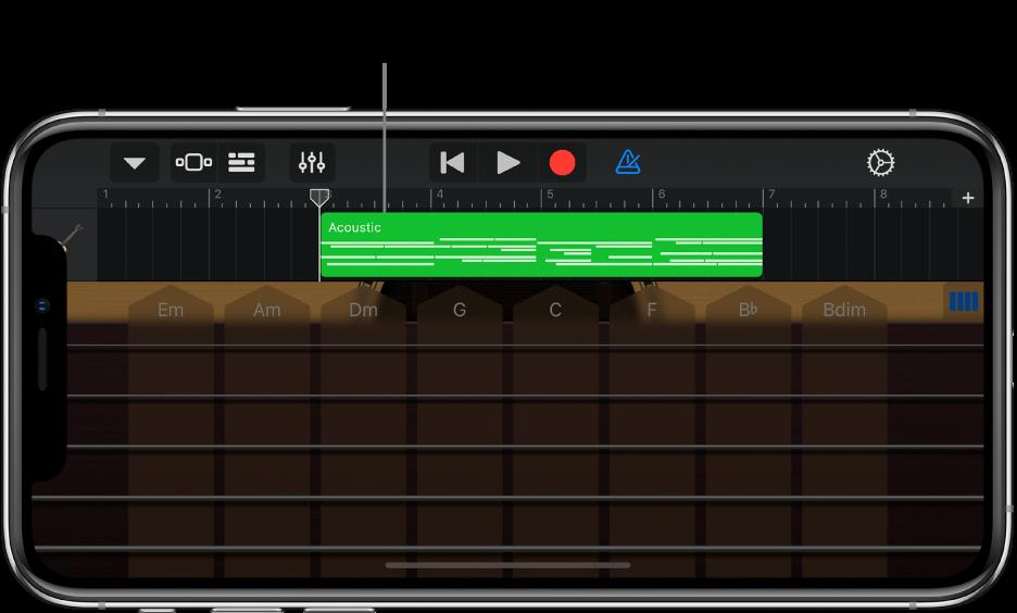 彈奏區域會向下移動,以顯示區段