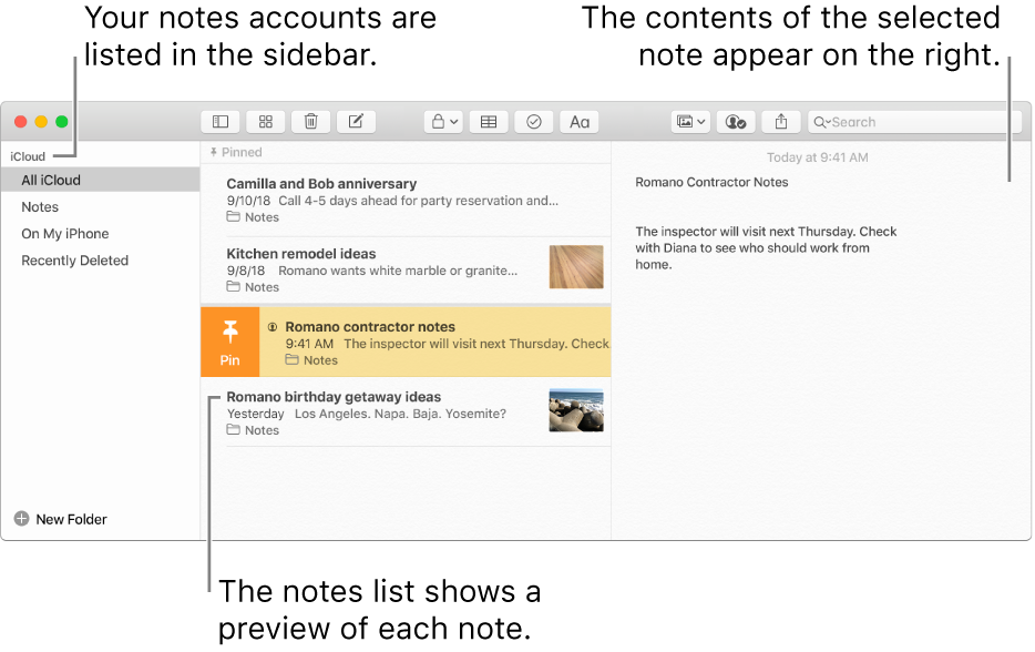 The Notes window with all your configured accounts listed in the sidebar on the left, the list of notes in the middle showing a preview of each note, and the content of the selected note appearing on the right.