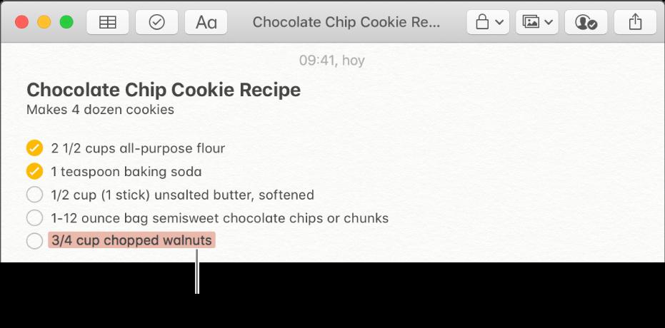 Una nota con receta de galleta con chispas de chocolate. Las adiciones de otro participante están resaltadas en rojo.