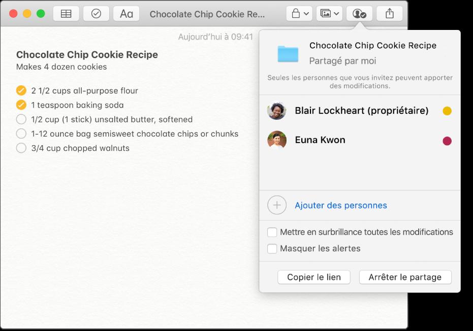 Une note contenant une recette de cookies aux pépites de chocolat. Lorsque vous cliquez sur le bouton Afficher les participants dans la barre d'outils, les personnes qui ont été ajoutées à la note apparaissent.