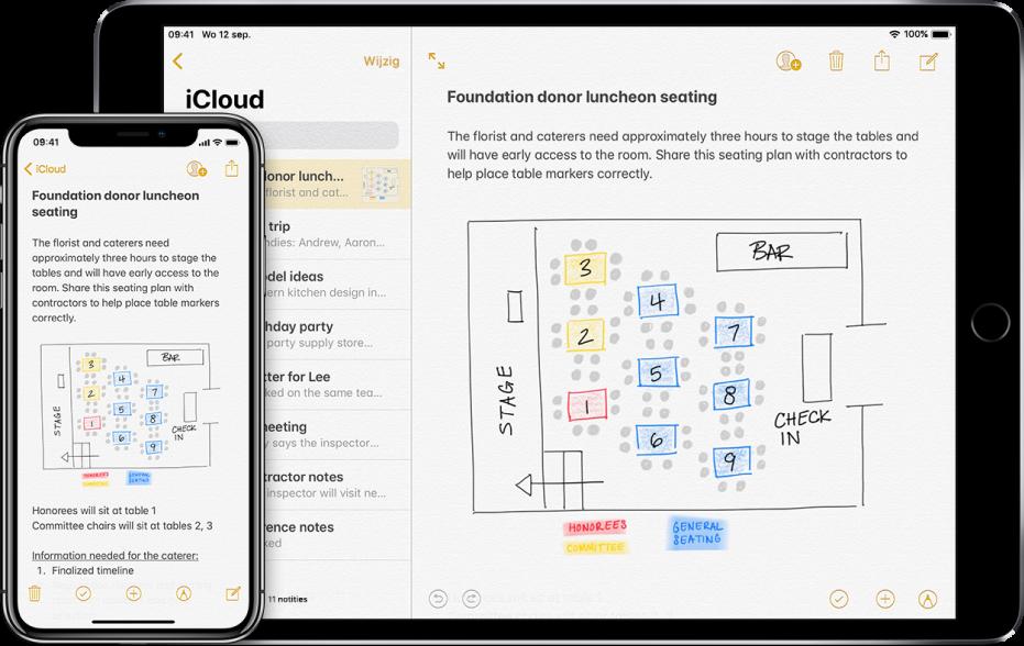 Een iPhone en een iPad waarop dezelfde notitie uit iCloud te zien is.