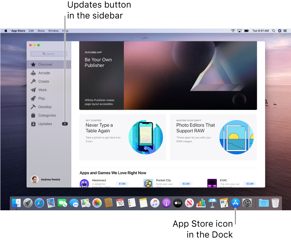 The main App Store window with a callout identifying the Updates button in the sidebar, and another callout identifying the App Store icon in the Dock.