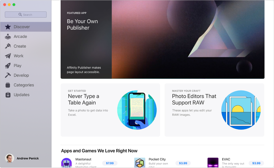 The main Mac App Store page. The sidebar on the left includes links to other pages: Discover, Create, Work, Play, Develop, Categories and Updates. On the right are clickable areas including Behind the Scenes, From the Editors and Editors' Choice.