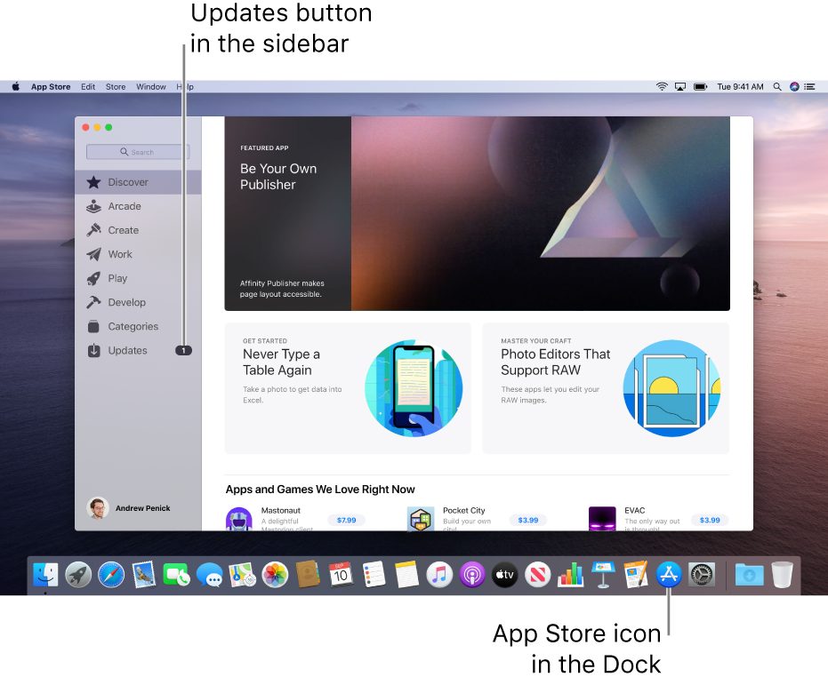 The main App Store window, with a callout identifying the Updates button in the sidebar, and another callout identifying the App Store icon in the Dock.