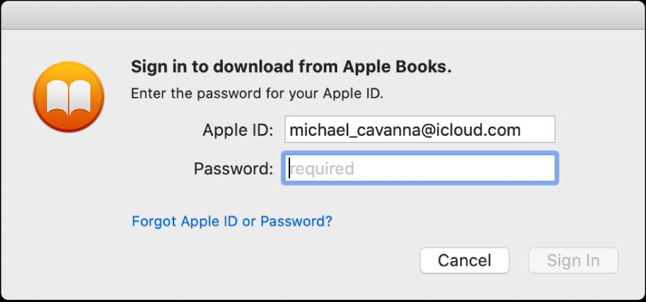 Das Dialogfenster zum Anmelden mit einer Apple-ID und einem Passwort