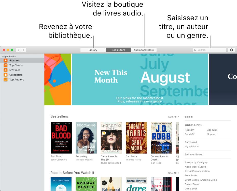 La barre d'outils de la Librairie. Cliquez sur Bibliothèque pour revenir à votre bibliothèque.