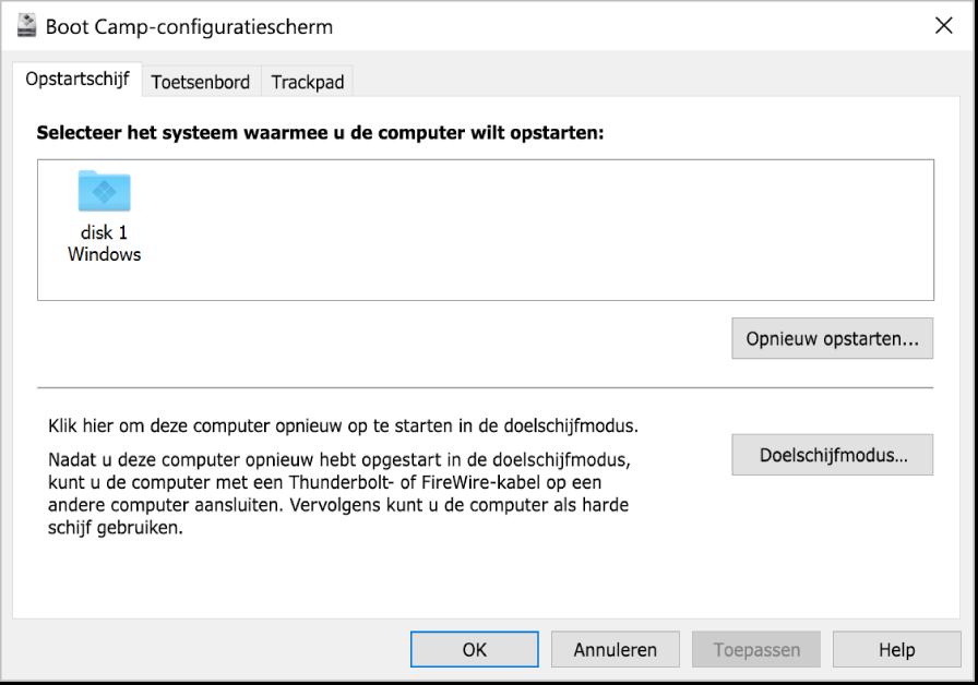 Het Boot Camp-configuratiescherm met daarin het selectiepaneel voor opstartschijven, waarin ook opties te zien zijn voor het herstarten van je computer of het gebruiken van je computer in doelschijfmodus.