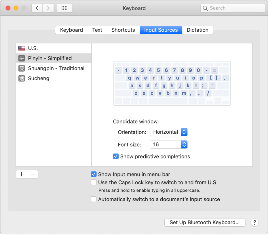 The Input Sources pane of Keyboard preferences, where you can add or remove input sources for different languages (U.S., Pinyin - Simplified, Shuangpin - Traditional,  and Sucheng are shown in the list on the left) and choose other options.