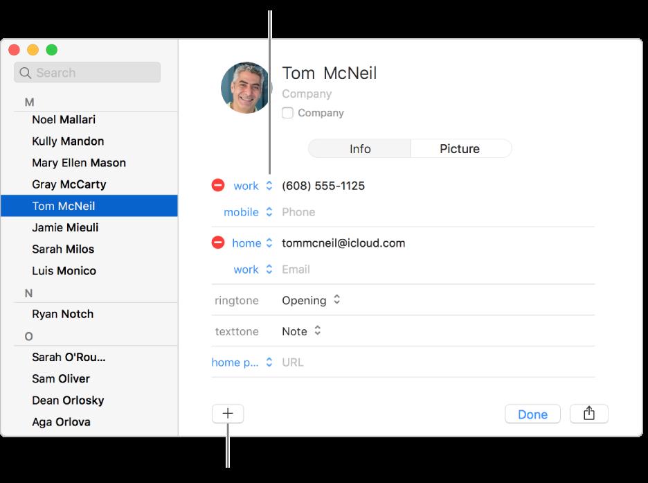 Vizitka kontaktu, na níž je zobrazen popisek pole, který lze změnit, ana dolním okraji vizitky tlačítko pro přidání kontaktu, skupiny nebo pole vizitky