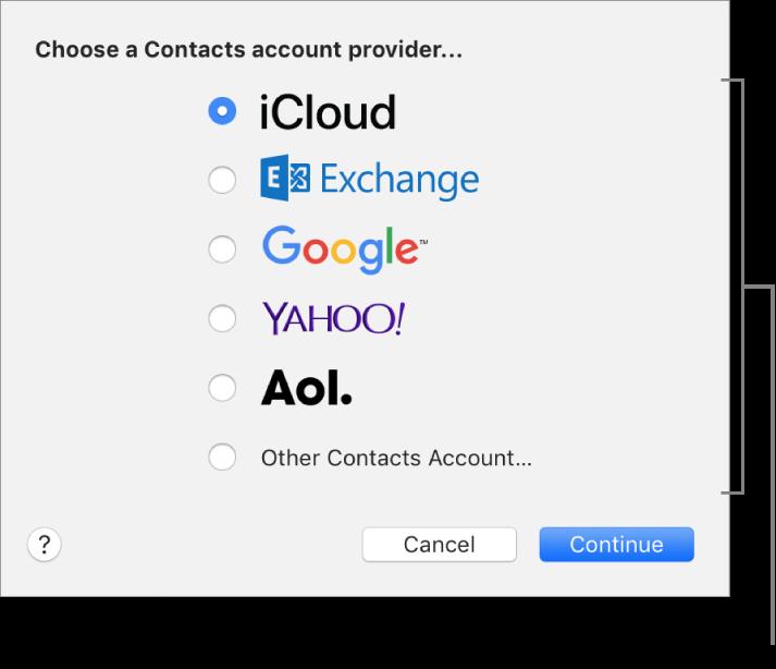 「連絡先」アプリケーションにインターネットアカウントを追加するためのウインドウ。