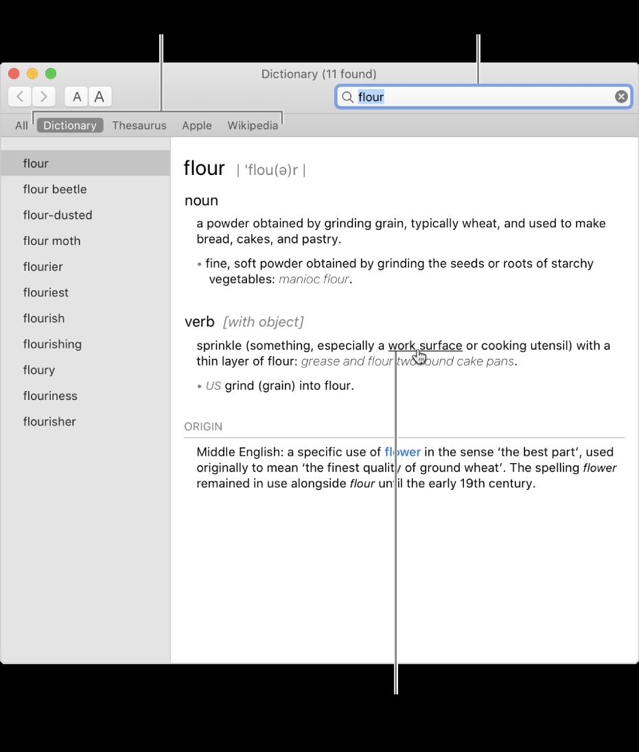Fenêtre Dictionnaire complète affichant une définition. Cliquez sur un mot ou une phrase dans une définition pour afficher sa définition. Pour sélectionner une source à rechercher, cliquez sur son nom dans la barre des sources, sous la barre d'outils. Saisissez un mot ou une expression dans le champ de recherche.