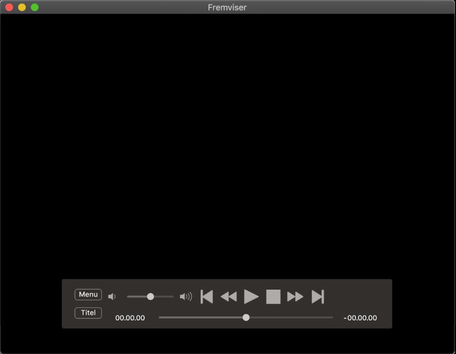 Betjeningspanelet for Dvd-afspiller med lydstyrkemærket øverst til venstre og spillelinjen nederst. Træk spillelinjen for at gå til et andet sted.