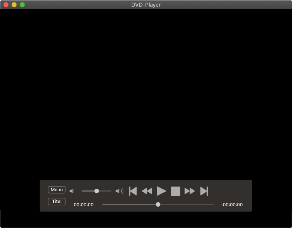 Die Steuerelemente von DVD-Player mit dem Lautstärkeregler oben links und dem Scrubber unten Bewege den Scrubber an eine andere Position.