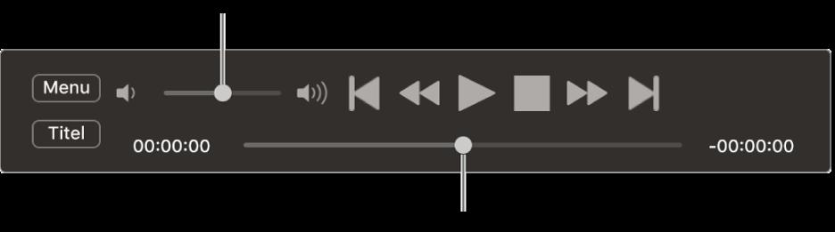 Die Steuerelemente vom DVD-Player mit dem Lautstärkeregler oben links und der Navigationsleiste unten Bewege den Scrubber an eine andere Position.