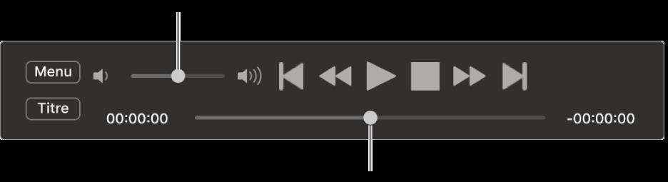 Les commandes de Lecteur DVD, avec le curseur de volume dans la zone supérieure gauche et le défileur en bas. Faites glisser le défileur vers un autre emplacement.