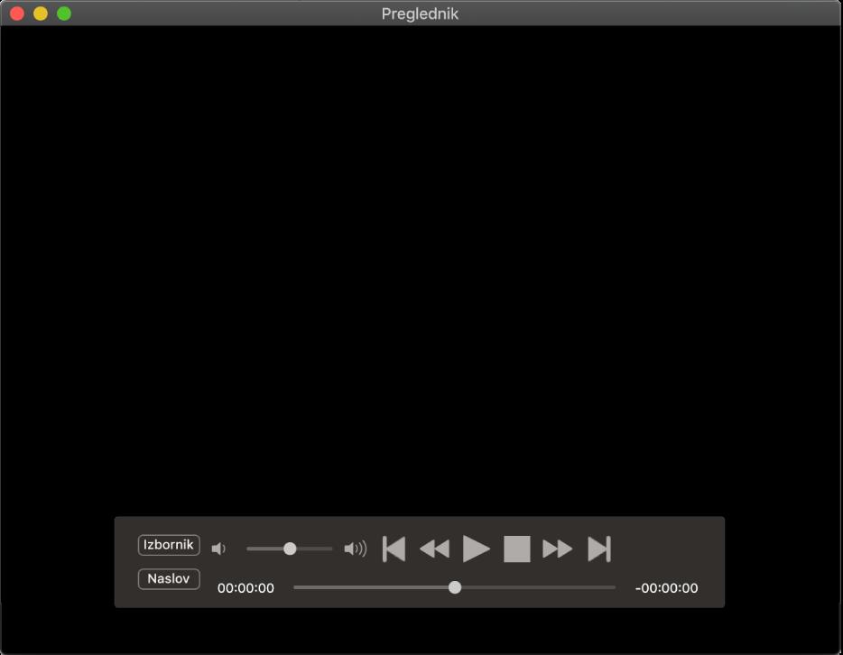 Kontroler DVD uređaja, s kliznikom glasnoće gore lijevo i kliznikom reprodukcije na dnu. Povucite kliznik reprodukcije za prijelaz na drugo mjesto.