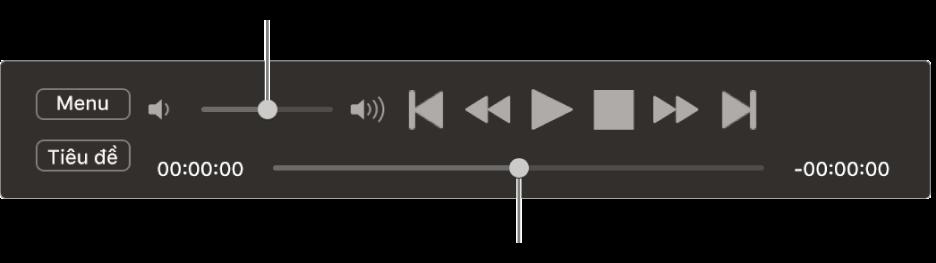 Bộ điều khiển Trình phát DVD, với thanh trượt âm lượng ở khu vực trên cùng bên trái và thanh thời gian ở dưới cùng. Kéo thanh thời gian để đi tới vị trí khác.