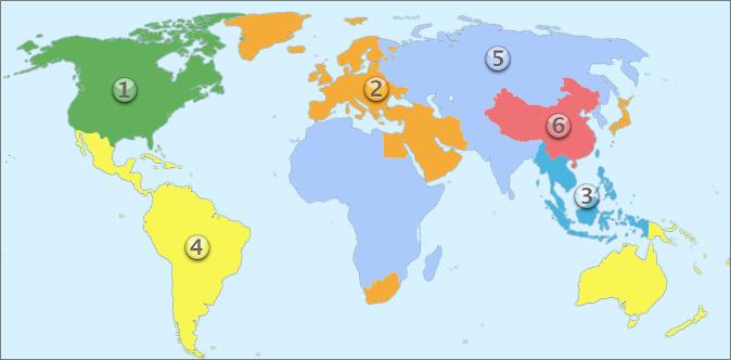 DVD 区域地图。