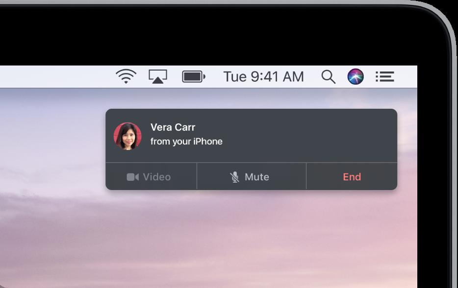 Mac 螢幕右上角出現一個通知,顯示正在使用你的 iPhone 進行通話。