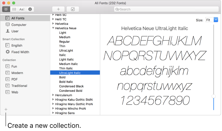The Font Book window showing the Add button in the lower-left corner to create a new collection, smart collection or library.