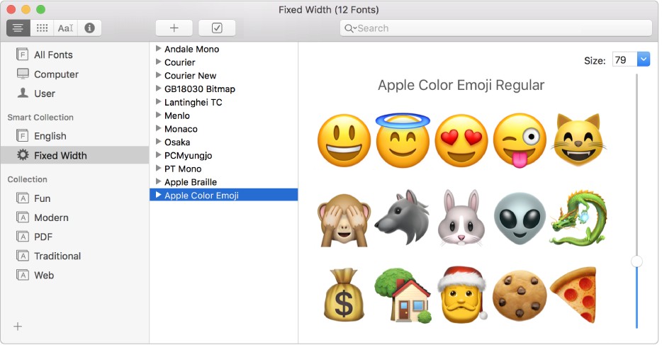 The Font Book window showing the Apple Colour Emoji font.