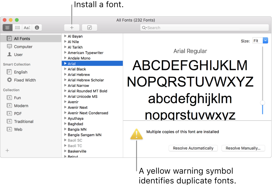 The Font Book window showing the Add button in the toolbar for adding a font and, in the lower-right corner, a yellow warning symbol identifying duplicate fonts.