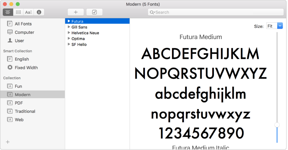 Ventana de Catálogo Tipográfico mostrando la colección de tipos de letra Modern.