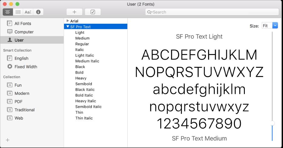 La ventana de Catálogo Tipográfico con un tipo de letra recién instalado.