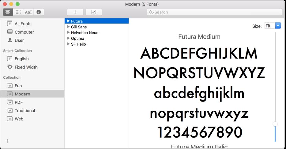 Kirjasinkirja-ikkuna, jossa näkyy Modern-fonttikokoelma.