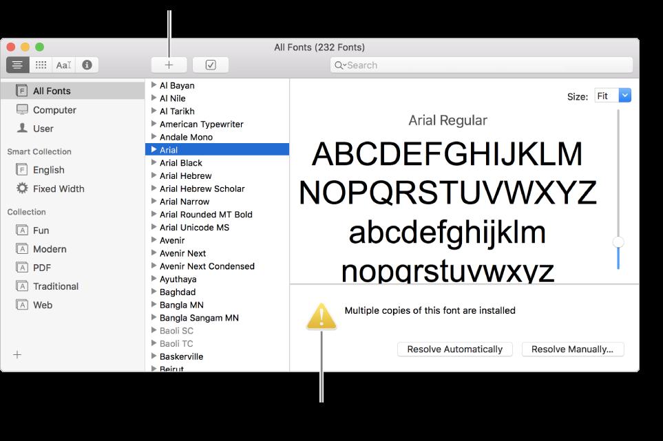 A janela do Catálogo Tipográfico a mostrar o botão Adicionar, na barra de ferramentas, para adicionar um tipo de letra e, no canto inferior direito, um símbolo de advertência amarelo que identifica os tipos de letra duplicados.