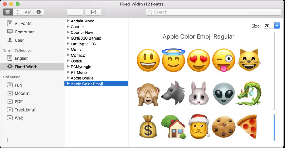 หน้าต่างสมุดแบบอักษรซึ่งแสดงแบบอักษรอิโมจิสีของ Apple