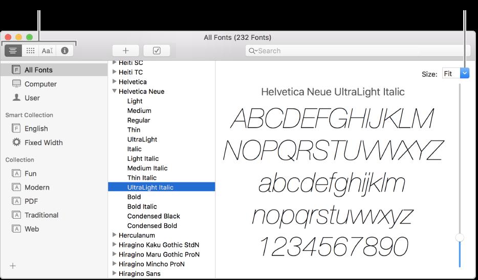 「字體簿」視窗,左上角的按鈕可選擇字體預覽的類型,右側的垂直側邊欄可更改字體預覽大小。