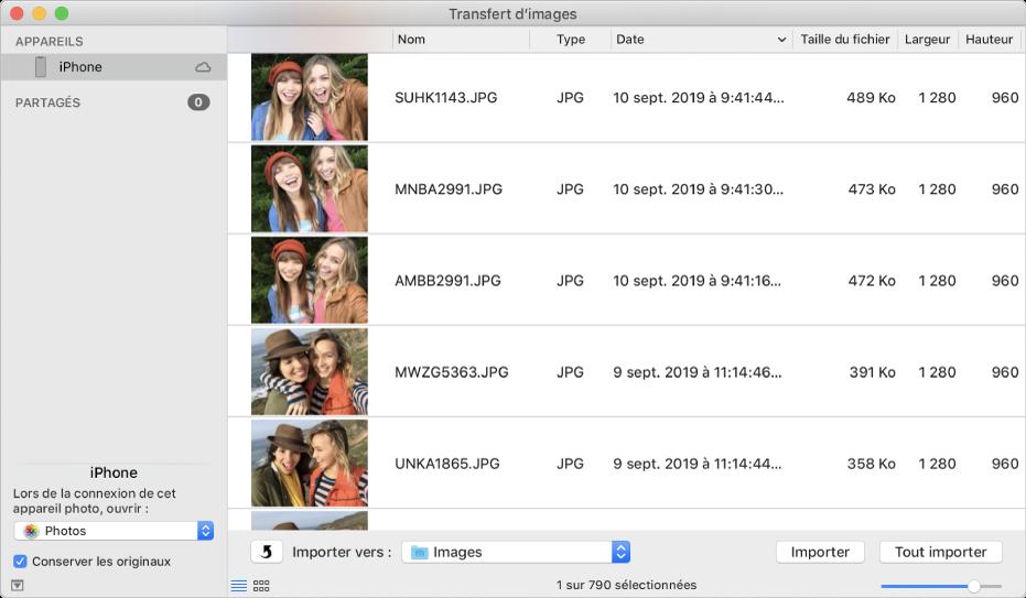 La fenêtre Transfert d'images affichant des images à importer depuis un iPhone.
