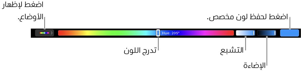 الـTouchBar يعرض أشرطة تمرير الصبغة ودرجة التشبع والسطوع لنمط HSB. على الطرف الأيمن يوجد زر لإظهار كل الأنماط؛ وعلى اليسار يوجد زر لحفظ لون مخصص.