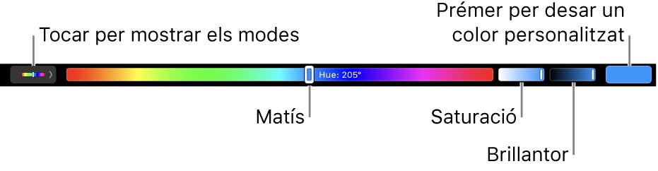 La Touch Bar, amb els reguladors de matís, saturació i brillantor del mode HSB. A l'extrem esquerre hi ha el botó per mostrar tots els modes; a la dreta, el botó per desar un color personalitzat.