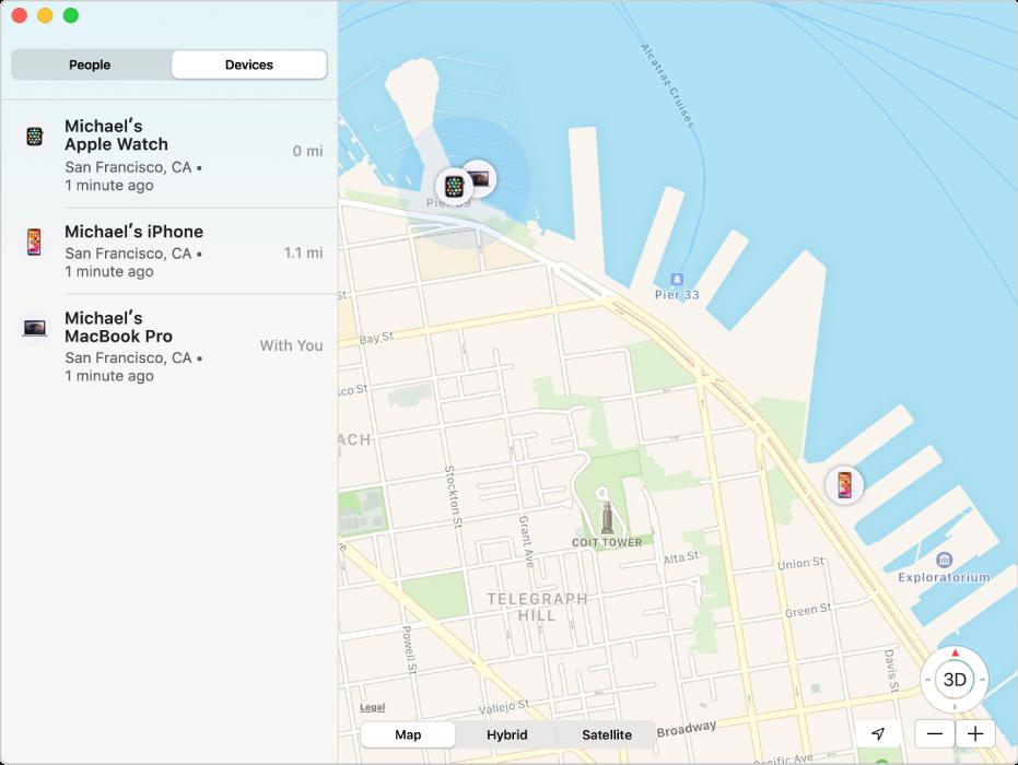 Aplikace Najít se zobrazením seznamu zařízení na bočním panelu ajejich poloha na mapě vpravo.