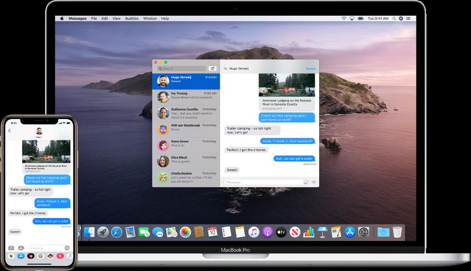 iPhone, na němž je zobrazena textová zpráva, avedle něj Mac, na který se zpráva předává avjehož Docku je nalevo vidět ikona Handoffu