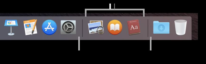 Pravá část Docku. Přidání aplikací nalevo ododdílu nedávno použitých aplikací apřidání souborů napravo od této části, kde jsou umístěné sady Stahování akoš.