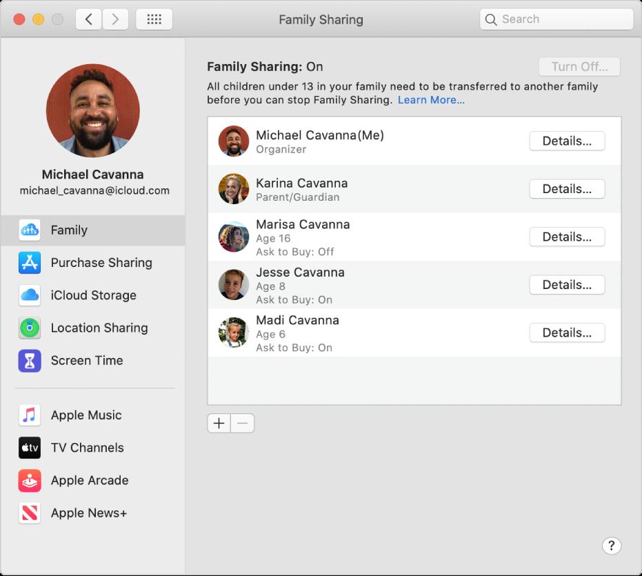 Indstillinger til Familiedeling, som viser forskellige kontoindstillinger i indholdsoversigten, og til højre familiemedlemmer og oplysninger om dem.